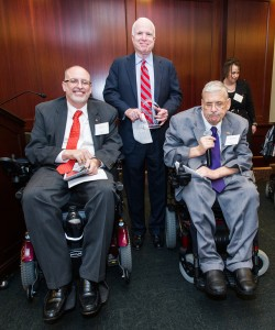 Senator McCain with United Spinal President & CEO Paul J. Tobin (L) & Terry Moakley, Chair of the VetsFirst Committee (R).