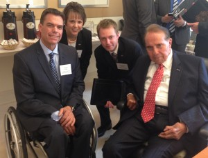 United Spinal Association President and CEO Joseph Gaskins, VetsFirst Vice President Heather Ansley, VetsFirst Director of Veterans Policy Christopher Neiweem, and Senator Bob Dole following a meeting with veterans service organizations on the Disabilities Treaty.